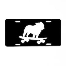 Skateboarding Bulldog Aluminum License Plate