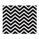 Black chevron throw Fleece Blankets