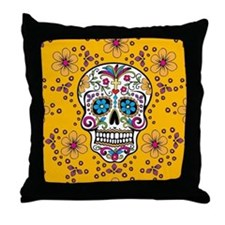 Sugar Skull YELLOW Throw Pillow
