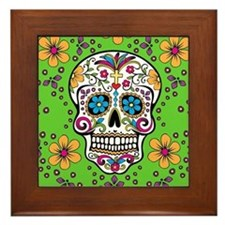 Sugar Skull GREEN Framed Tile