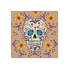 """Sugar Skull TAN Square Sticker 3"""" x 3"""""""
