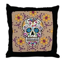Sugar Skull TAN Throw Pillow