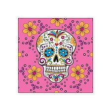 "Sugar Skull PINK Square Sticker 3"" x 3"""