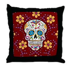 Sugar Skull GARNET Throw Pillow