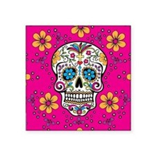 "Sugar Skull BRIGHT PINK Square Sticker 3"" x 3"""