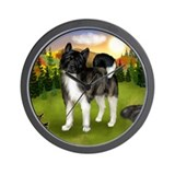 AKITA DOG FALL SUNSET Wall Clock