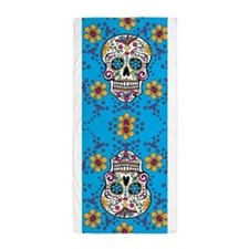 Sugar Skull TEAL Beach Towel
