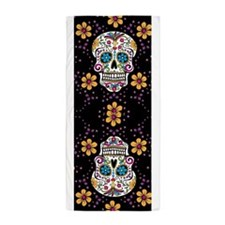 Sugar Skull BLACK Beach Towel