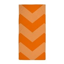 Orange Chevron Pattern Beach Towel