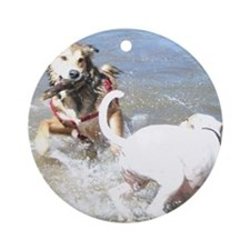 Dogs at Play Round Ornament