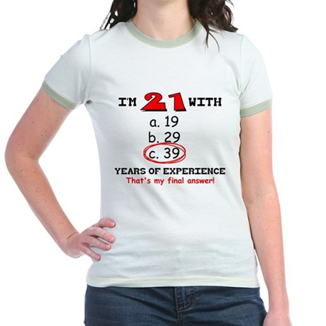 21 Plus 39 Equals 60 Jr. Ringer T-Shirt