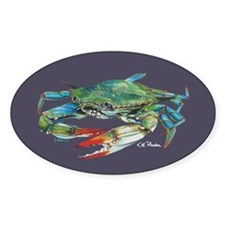 Blue Crab Navy Sticker (oval)