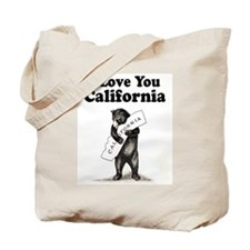 Vintage I Love You California State Bear Tote Bag