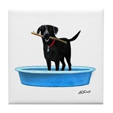 Black Labrador Retriever in kiddie pool Tile Coast