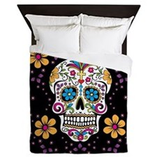 Sugar Skull BLACK Queen Duvet