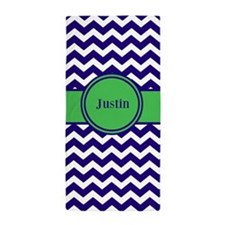 Navy Green Chevron Monogram Beach Towel