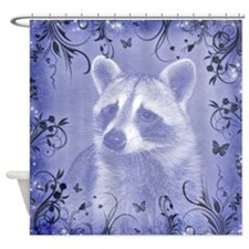 Raccoon Portrait, blue Shower Curtain