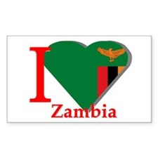 I love Zambia Rectangle Decal