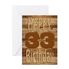 33rd Birthday A carved wooden card. Greeting Cards