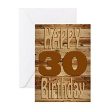 30th Birthday A carved wooden card. Greeting Cards