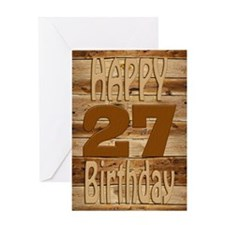 27th Birthday A carved wooden card. Greeting Cards