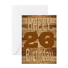 26th Birthday A carved wooden card. Greeting Cards