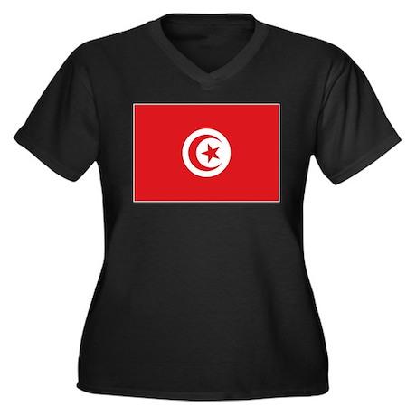 flag Tunisia Women's Plus Size V-Neck Dark T-Shirt