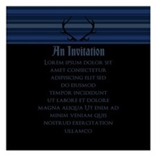 Blue Stripes And Antlers Invitations