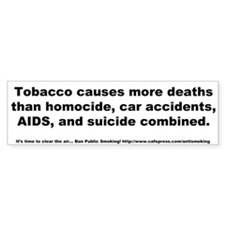 Bumper Sticker: Tobacco causes more deaths than ho