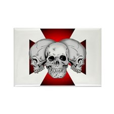 Tri Skull Iron Cross Rectangle Magnet