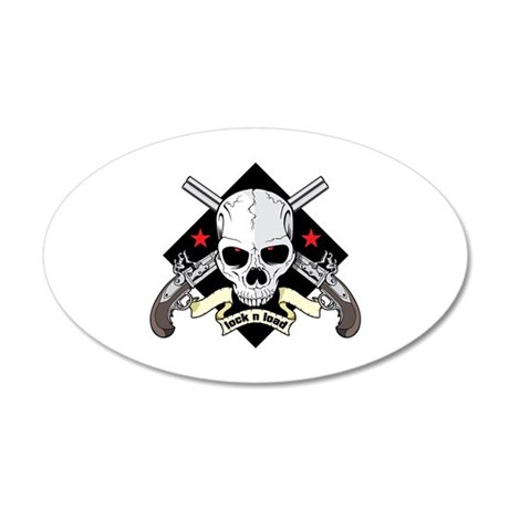 Lock and Load Skull and Guns 20x12 Oval Wall Decal