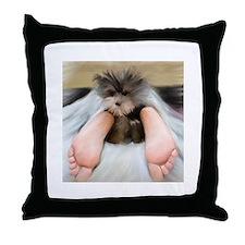 Yorkie Between Feet Throw Pillow