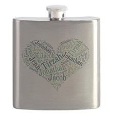 Family Heart Names Flask