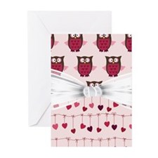 Pink Whimsical Owls Greeting Cards