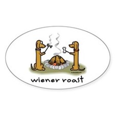 Wiener Roast Wiener Dog Oval Decal
