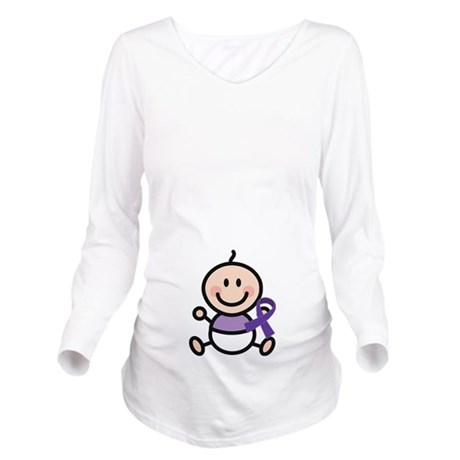 Purple Ribbon Stick Baby Awareness Long Sleeve Mat