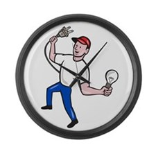 Electrician Hold Electric Plug and Bulb Cartoon La