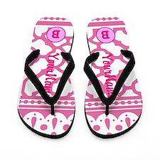 Pink Quatrefoil Monogram Flip Flops