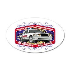 Law Enforcement Patrol Car 20x12 Oval Wall Decal