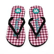 Plaid Monogram Personalized Flip Flops