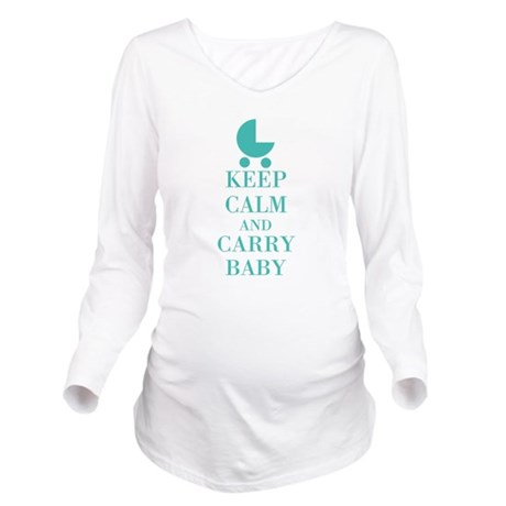 Keep Calm And Carry Baby Long Sleeved Maternity Shirt