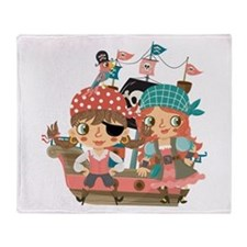 Girly Pirates Throw Blanket