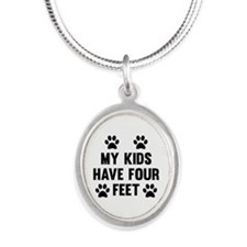 My Kids Have Four Feet Silver Oval Necklace