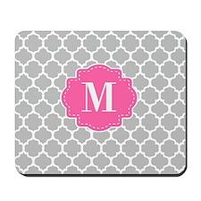 Gray Pink Quatrefoil Monogram Mousepad
