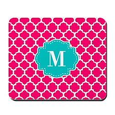 Pink Teal Quatrefoil Monogram Mousepad