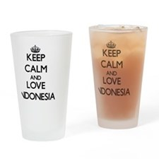 Keep Calm and Love Indonesia Drinking Glass