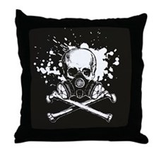 Gas Mask Jolly Roger Throw Pillow