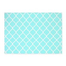 Light Aqua Quatrefoil Pattern 2 5'x7'Area Rug