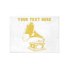 Custom Gold Gramophone Record Player 5'x7'Area Rug