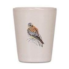 Watercolor Kestrel Falcon Bird art Shot Glass